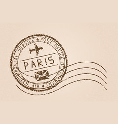 Paris mail stamp old faded retro styled impress vector