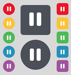 pause icon sign A set of 12 colored buttons Flat vector image