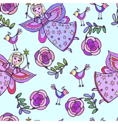 Seamless pattern sketch of fairy vector