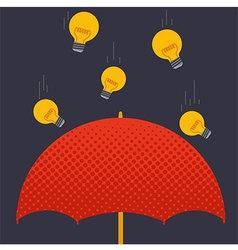 Umbrella idea and light bulb vector