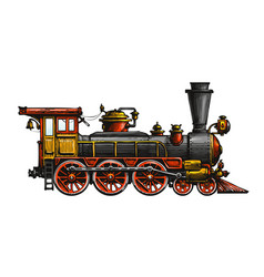 vintage steam locomotive drawn ancient train vector image