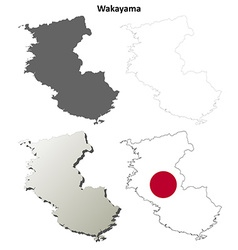 Wakayama blank outline map set vector