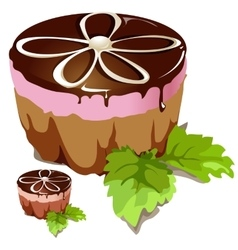 Chocolate cake with pink layer vector