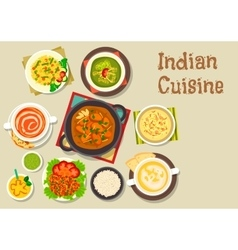 Indian cuisine icon of popular dishes with dessert vector