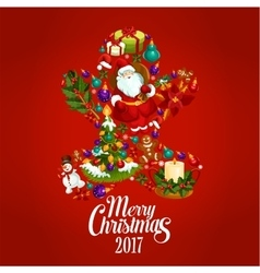 Merry christmas 2017 poster gingerbread man vector