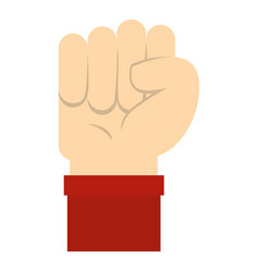 Raised up clenched male fist icon isolated vector