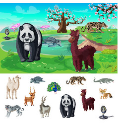 Cartoon asian wildlife concept vector