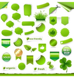 Big green labels set vector