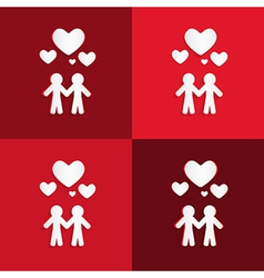 Paper People Holding Hands with Hearts on Red vector image