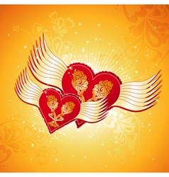 Two lovely red heart on golden background with win vector