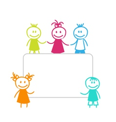 Celebration card with funny girls and boys vector