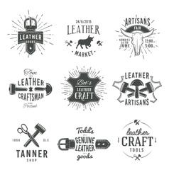 Second set of grey vintage craftsman logo vector image