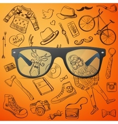 hipster glasses hand-drawn Hipster style elements vector image