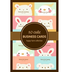Ten cute pastel animal business cards or labels vector