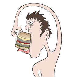 Funny boy eating burger vector