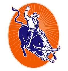 rodeo cowboy texas longhorn bull vector image