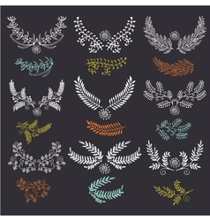 Hand drawn wreath set made in  leaves and vector