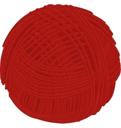 Wool red yarn ball isolated on white vector