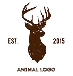 Hipster logotype with brown head of deer vector