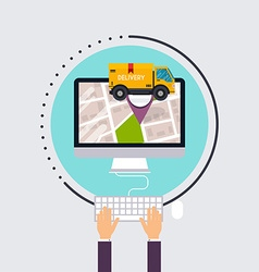 Man uses computer with app delivery tracking vector image