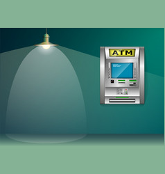 Atm - automated teller machine blue and green vector