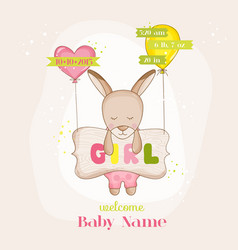 baby girl kangaroo with balloons - baby shower vector image