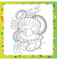 Black and white sea shell for coloring book vector