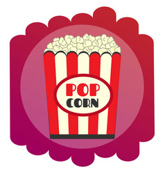 Bright flat popcorn icon the sign of the cinema vector