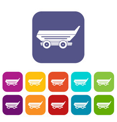 Car trailer icons set flat vector