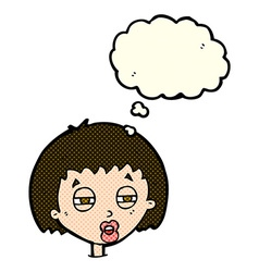 cartoon woman narrowing eyes with thought bubble vector image