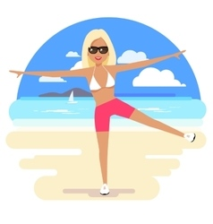 Cute girl in a bikini and pareo on the beach vector image vector image