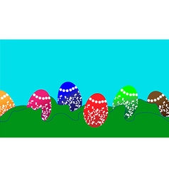 Easter background with easter eggs vector