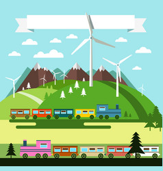flat design landscape with trains and wind mills vector image