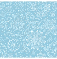 floral seamless blue vector image