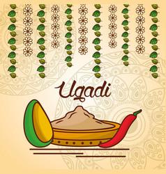 Happy ugadi decorative food culture floral mandala vector