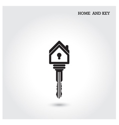 Home icon and key symbol in flat design style vector
