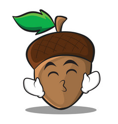 kissing smile eyes acorn cartoon character style vector image vector image