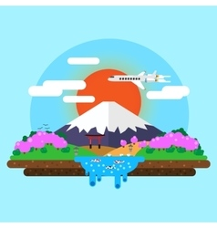 Landscape of mount fuji vector