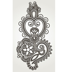 line art ornate flower design Ukrainian traditiona vector image