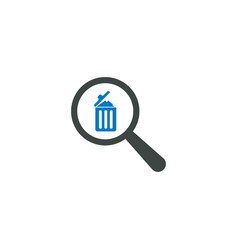 magnifying glass icon trash bin icon vector image