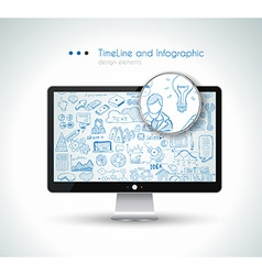 Modern Mockup Device with infographics sketch set vector image vector image