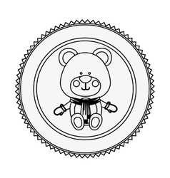 monochrome contour circle with teddy bear vector image