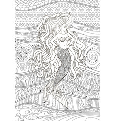 Patterned of a mermaid vector