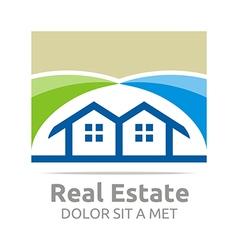 Real estate shape home construction company vector