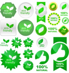 set of natural labels vector image vector image