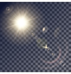 Shining beige sun with lens effects vector