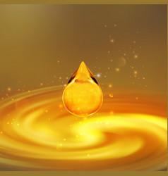 Transparent golden oil droplet vector