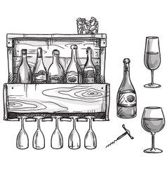 Wine holder bottles and glasses vector image vector image