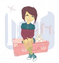 woman sitting on suitcase vector image