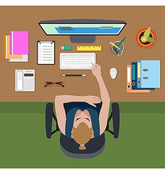 Workplace of female office employee vector image vector image